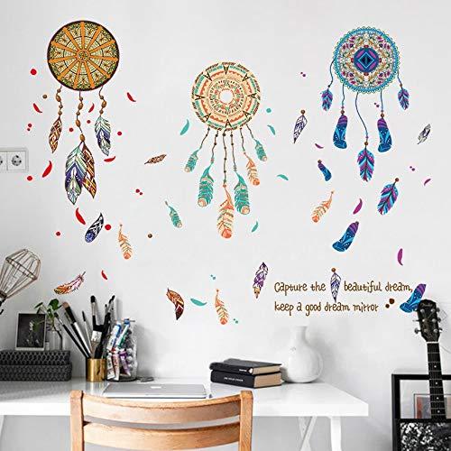 Colorido Atrapasueños Pluma Vinilo Pegatinas De Pared Sala De Estar Dormitorio Sofá De Fondo Decoración Extraíble Tatuajes De Pared Arte Murales