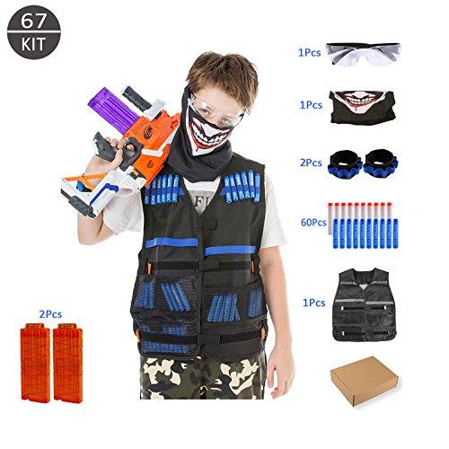 Gilet Tactique Enfant, OVITOP Kit de Gilet pour Nerf (67pièces) Incluant 1 Gilet en Nylon, 1 Lunettes de Protection, 1 Bandana Tête de Mort, 2 Bracelets de Poignée, 2 Chargeurs de 12Fléchettes, 30