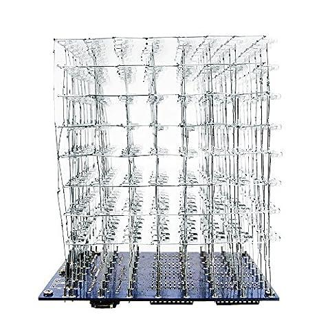 XCSOURCE® 3D Squared DIY Installations satz 8x8x8 3mm LED Würfel weißes LED blaues helles PCB platte w/ USB Kabel OS843 - 8 Cube