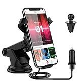Support Téléphone Voiture Chargeur Sans Fil CE-Link 3 Bobines Universel 10W Qi Wireless Charger Car Mount Rotation 360 Degrés pour Samsung Galaxy S7 / S7 Edge / S6 Edge/ S8 /S8 plus/Note 5/Note 8/iPhone 8/ 8 Plus/ iPhone 10/iPhone X, LG, Google Pixel/Pixel XL, Nexus, HTC, Sharp, Xiaomi, Huawei et Autres Appareils QI ou Compatible de recharge, Noir