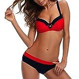 Bikini Mujer Push-up con Relleno Grueso con Acero Acolchado Bra Trajes de Baño Dos Piezas Color Vario con Talla Grande Rojo Small