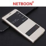 NETBOON® Branded Samsung Galaxy A9 Pro (2016) Window Sensor Leather Flip Cover Case with Call Answering/Refusing – (Gold)