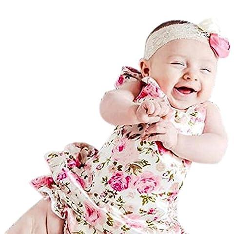 Koly Girls Boys Baby Kid Flower Print Romper Backless Sunsuit