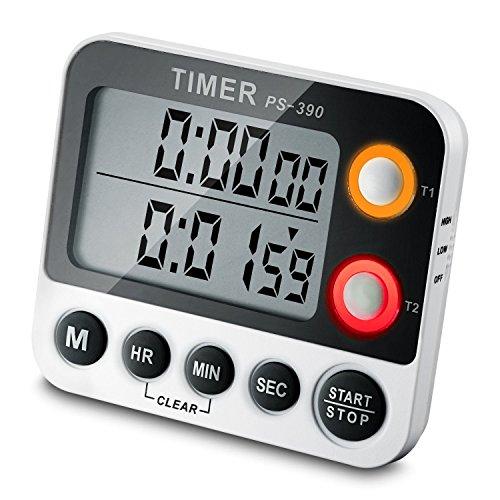 Digital Timer ceebon 100Stunde Dual Count Down und Count Up Timer Küche Timer mit Magnet zum Aufhängen Halterung großes LCD-Display lauter Alarm