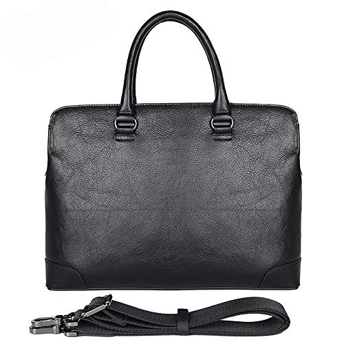 Herren Echtes Leder Executive Schulter Messenger Bag - Aktentaschen Crossbody Umhängetasche Geeignet für 14
