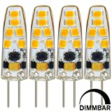 MENGS® Pack de 4 Regulable Bombilla lámpara LED 3 Watt G4, 12x 2835 SMD, Blanco frío 6500k, AC/DC 12V,Con chaqueta de silicona
