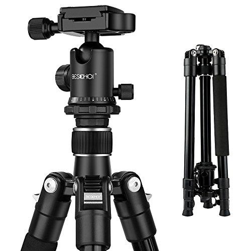 Beschoi Kamera Stativ Reisestativ Fotostativ mit 360° Kugelkopf Dreibeinstativ für Canon, Nikon, Sony, Pentax, Olympus, Samsung DSLR Kamera