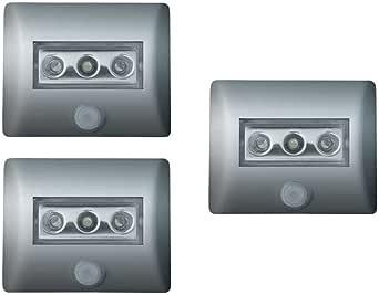 OSRAM LED-Licht mit Bewegungsmelder Nightlux LED-Nachtlicht / Dämmerungssensor / schwenkbar, batteriebetrieben, Tageslicht - 7000K, silber, 3er Pack