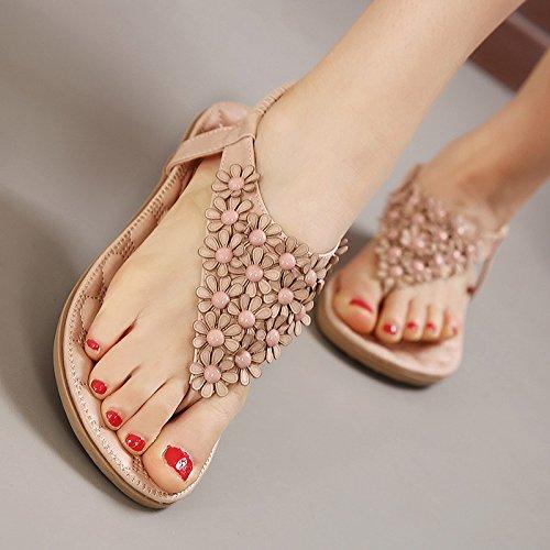 GTVERNH-estate rosa solo scarpe dolce fiore pizzicare con fondo piatto vacanza sandali giovane soffice basso sandali.,35 Thirty-six
