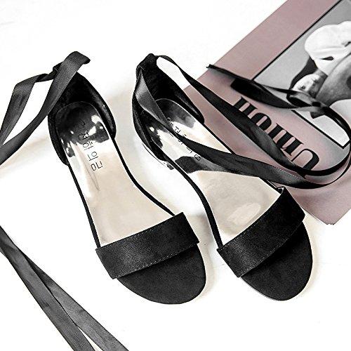 RUGAI-UE Studente sandali estivi tirante piatto scarpe alla moda Black