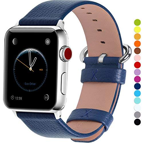 Fullmosa kompatibel mit Apple Watch Armband 42mm/38mm in 15 Farben für iWatch Serie 5/4/3/2/1,Dunkelblau 38mm