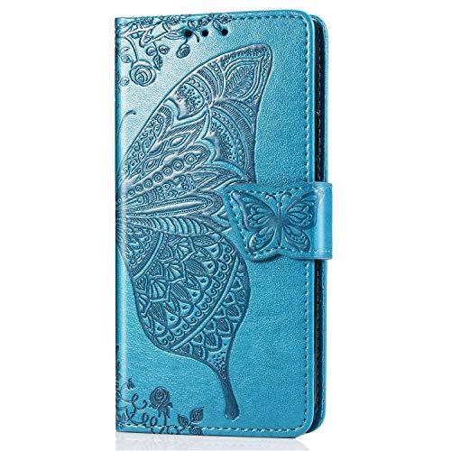 Dedux Funda para Xiaomi Mi 8 Lite, PU Cover con Tapa de Cuero Tapa y Soporte de Tarjeta Kickstand Ranuras para Tarjetas,Azul