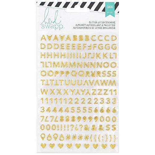 American Crafts Heidi Swapp 10268595Schablone zum Memory Planer Alphabet Aufkleber 2/Blatt, Gold und pink Glitter, Acryl, Mehrfarbig - Heidi Swapp-alphabet