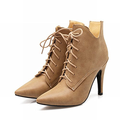 Mee Shoes Damen spitz kurzschaft Schnürsenkel high heels Stiefel Gelb