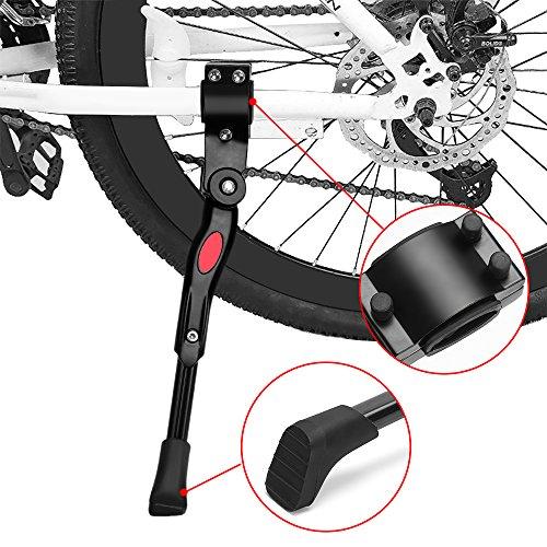 Novarili Fahrradständer, Anti-Rutsch-Höhenverstellung Hoch Verträglichkeit Universal-Fahrrad-Seitenständer, Schwarz