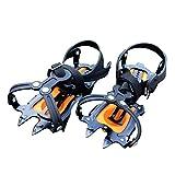 Baisde EIS Crampons 10 Zähne Klauen Verstellbare Zugkraft Stollen Rutschfeste Schuhe Abdeckung für Outdoor Ski Schnee Wandern Klettern, orange