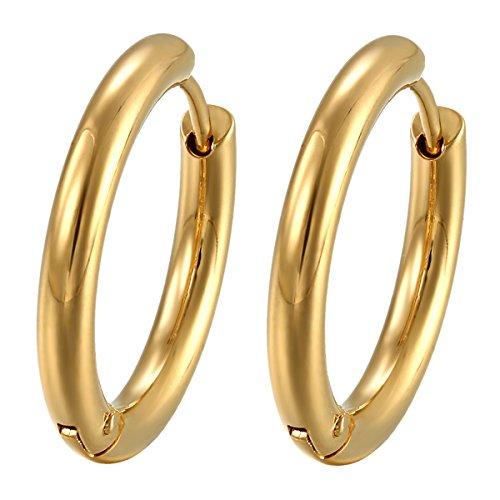 Oidea Herren Damen Ohrringe Creolen gold , 20mm Breite Edelstahl Ohrstecker Ohrclips Ohrringe Ohranhänger Ohrschmuck