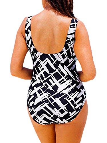 Azue Damen Groß Größe Badeanzug Einteil Schwimmanzug Bauchweg Bademode Sportlich Tankini Schwarz und Weiß Streifen