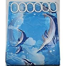 Azul delfines 180cm largo cortina de PEVA para ducha con 12C con forma de anillos