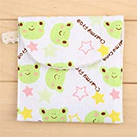 Mezzeno Girls Diaper Sanitary Napkin Storage Bag Canvas Sanitary Pads Package Bags Coin Purse Jewelry Organizer Credit Card Pouch Case25,Green Frog,as show