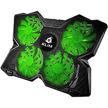 Klim Ventilador PC Portátil cuádruple Ventilador Soporte con ventilación Gamer Gaming placa refroidissante verde verde