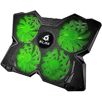KLIM Wind Raffreddatore per PC portatile - Il Più Potente - Azione Rapida - 4 Ventole con Supporto per Gaming PC (Verde)