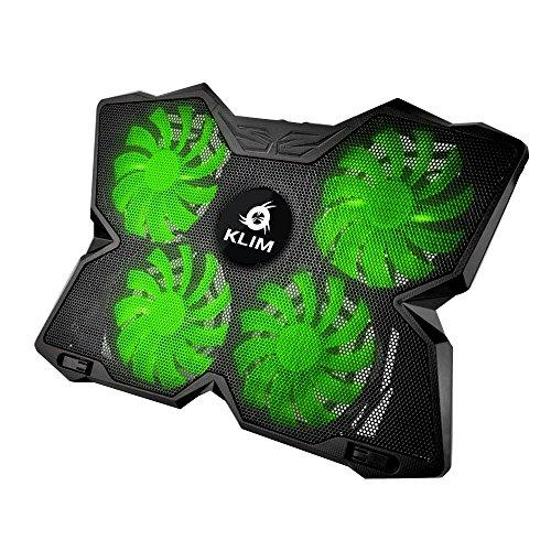 KLIM Wind Refrigeración para Ordenador Portátil – La más poderosa – Acción de Enfriamiento Rápido – Base Refrigerante Gaming de 4 Ventiladores con Soporte - Verde 2019 Versión