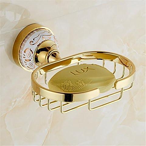 Modylee Fissato al muro moderno in ottone dorato bagno accessori sapone piatti Bagno Portasapone