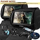 Xtrons Lot de 2 lecteurs DVD pour appui-tête de voiture Écran tactile HD 9'/émetteur FM et IR/casques IR noir