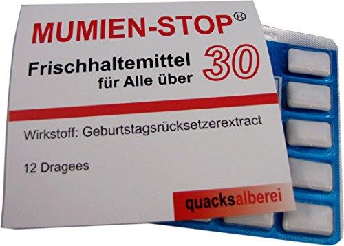 """quacksalberei Witzige Kaugummis""""MUMIEN-STOP 30"""" zum 30. Geburtstag"""