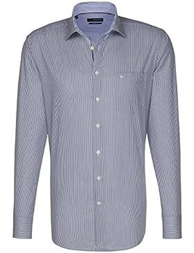 Seidensticker Herren Langarm Hemd Splendesto Regular Fit Business Kent Piping blau / weiß gestreift 110910.14