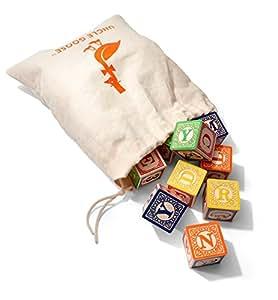 Uncle Goose Classic ABC Blocks with Canvas Bag (Multi-Colour)