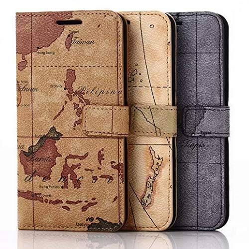 Roar Handy Hülle für Motorola Moto G (G1 1.Generation), Handyhülle Welt-Karte, Braun, Schutzhülle Tasche Handytasche mit Magnet und Kartenfach G1 Handy