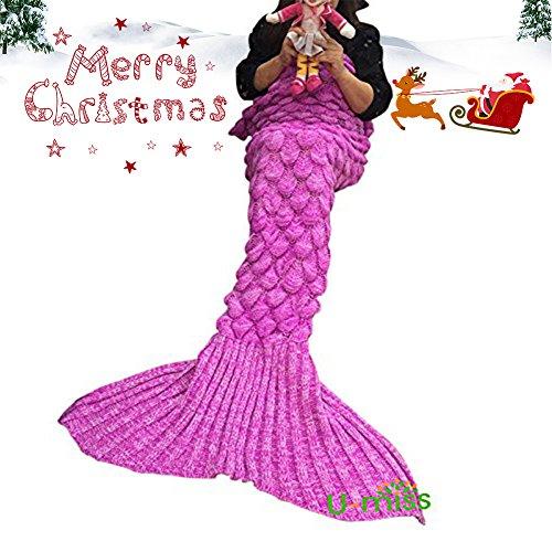 U-miss lana sirena coperta a coda a forma di sirena, utilizzabile come coperta per divano letto, adulti (180 * 90cm),rosa-s