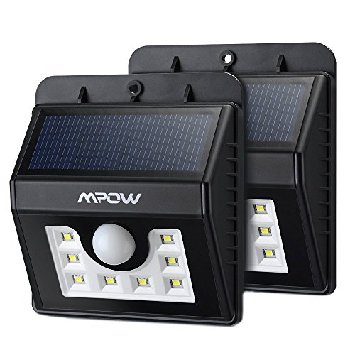 Mpow 2 Stück Solarleuchten [3 Intelligiente Modi] 8 helle LED Solarlampe mit Bewegungs-Sensor 3-in-1 für Garten usw.