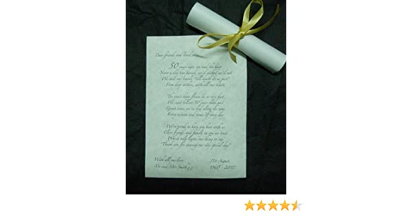 50 a6 personalised golden wedding 50th anniversary favour table