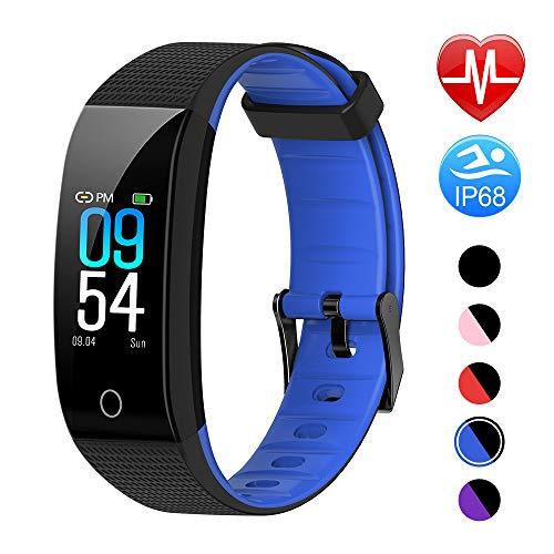 Juboury Fitness Armband mit Pulsmesser Blutdruckmesser, Fitness Tracker Smartwatch Wasserdicht IP68 Aktivitätstracker Schrittzähler Uhr Damen Herren Farbbildschirm SMS für iPhone Android Handy