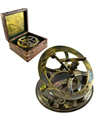 Sundial Compass 5in Dia with Hardwood Box - Antique Sundial Compass Replica - Gilbert & Sons by The New Antique Store