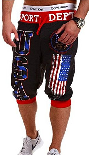 Men's USA American Flag Printed Homme Casual Shorts 4
