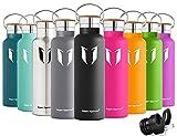 Super Sparrow Trinkflasche Edelstahl Wasserflasche - 750ml - Isolier Flasche mit 100%-Zufriedenheitsgarantie | Perfekte Thermosflasche für das Laufen, Fitness, Yoga, Im Freien und Camping, Auto oder Unterwegs | Frei von BPA | Ideal als Wasser- & Sportflasche - mit 2 auswechselbaren Kappen (Schwarz, 25oz-750ml)