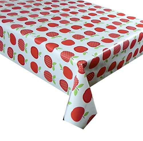 150cm x 137cm (1,5metros) mantel rojo diseño de manzanas, limpiar mantel de vinilo