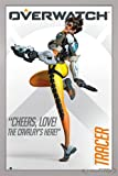 Overwatch Poster Tracer Cheers, Love! (66x96,5 cm) gerahmt in: Rahmen Silber
