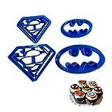 Lot de 4 emporte-pièces Astra Gourmet Super Hero Batman Superman Cartoon Cookie Cutters à Pâtisserie Moule à Biscuit...