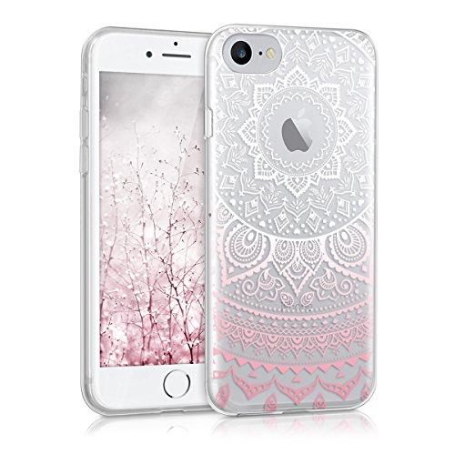 kwmobile Apple iPhone 7/8 Hülle - Handyhülle für Apple iPhone 7/8 - Handy Case in Indische Sonne Design Rosa Weiß Transparent