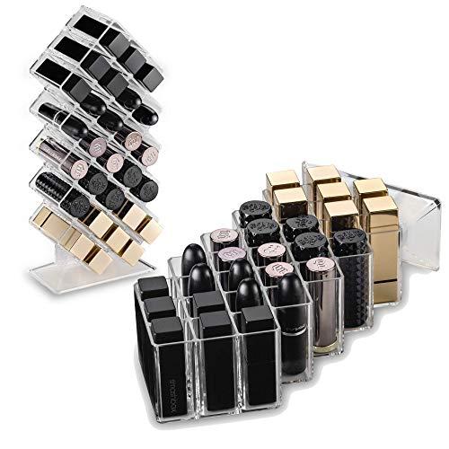 byAlegory Acryl Waben Lippenstift Makeup Organizer 28 Räume | Entworfen zu Stand & Lay Flat (Eitelkeit Make-up Regal)