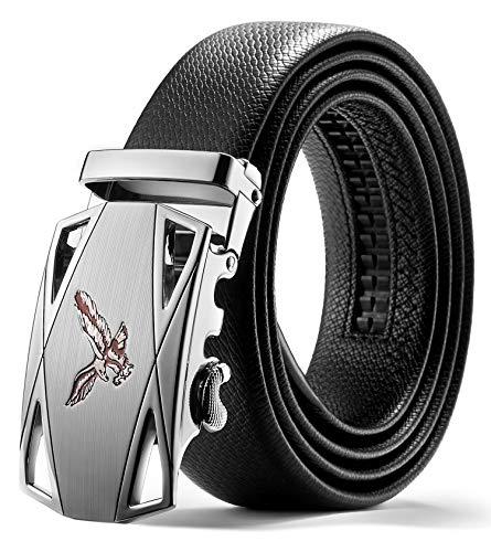 ITIEZY Cinturón Hombre Cuero, Cinturones Piel con Hebilla Automática Cinturón de Trinquete Negro Sencillo y Clásico con Caja de Regalo