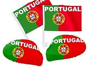 4 tlg. Alsino Portugal WM Fanartikel Auto Fanset Fanpaket AutoflaggenSpiegelüberzug Autofahne