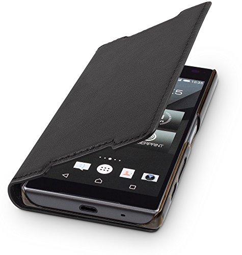 WIIUKA Echt Ledertasche -TRAVEL- für Sony Xperia Z5 Compact, Hülle mit Kartenfach, Schwarz, extra Dünn, Premium Design Leder Tasche Case