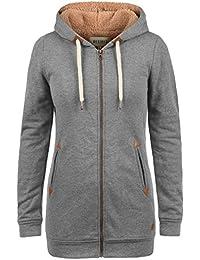 DESIRES Vicky Straight-Zip Damen Sweatjacke Kapuzen-Jacke Zip-Hoodie mit Kapuze mit optionalem Teddy-Futter aus hochwertiger Baumwollmischung