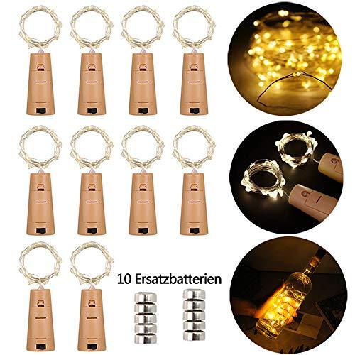 Preisvergleich Produktbild LED Flaschen-Licht 20 LEDs 2M Kupferdraht Lichterkette Weinflasche Lichter mit Kork korken Kupferdraht Nacht Licht Hochzeit Party romantische Deko 10pcs Kostenlos Batterien als Geschenk, warm weiß